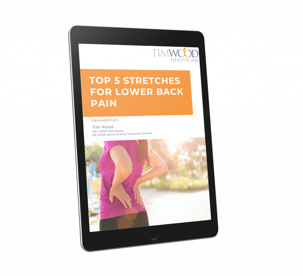 "alt=""Top 5 stretches for lower back pain Ebook Tim Wood Healthcare"""